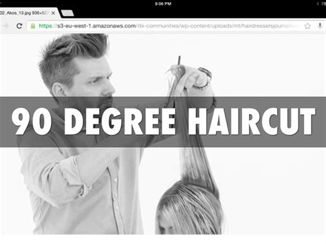 zero degree haircut coming down in a slight v shape step by step for a 90 degree haircut communicating for