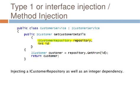 dependency injection setter method dependency inversion principle