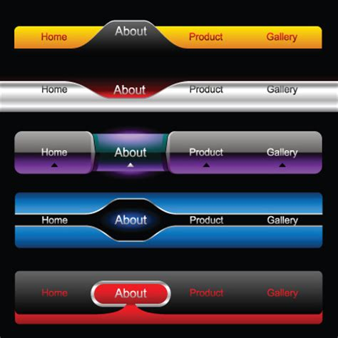 design menu buttons dark color menu button for website vector 05 over