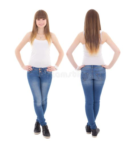 front and back view of teenage in white t shirt