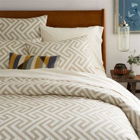 Organic Bed Sets Organic Taupe And Ivory Ikat Key Duvet Cover And Shams
