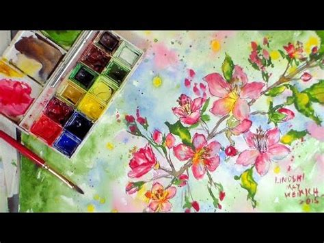 youtube tutorial paint cherry blossoms in watercolor tutorial youtube