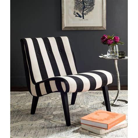 safavieh black white polyester accent chair mcrf  home depot
