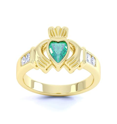 ring with birthstones claddagh birthstone ring made in ireland ardri jewellery