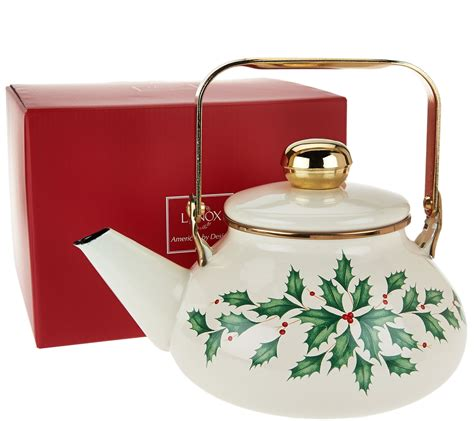 lenox holiday tea kettle in gift box page 1 qvc com