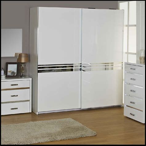 White Gloss Wardrobes With Sliding Doors by High Gloss 2 Door Sliding Wardrobe Finished In