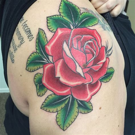traditional rose tattoo by dyster6 on deviantart