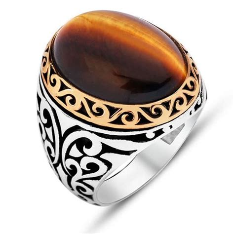 oval tiger s eye silver ring boutique ottoman