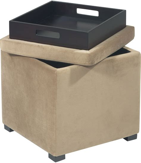 tray storage ottoman avenue six detour storage cube ottoman with tray coffee