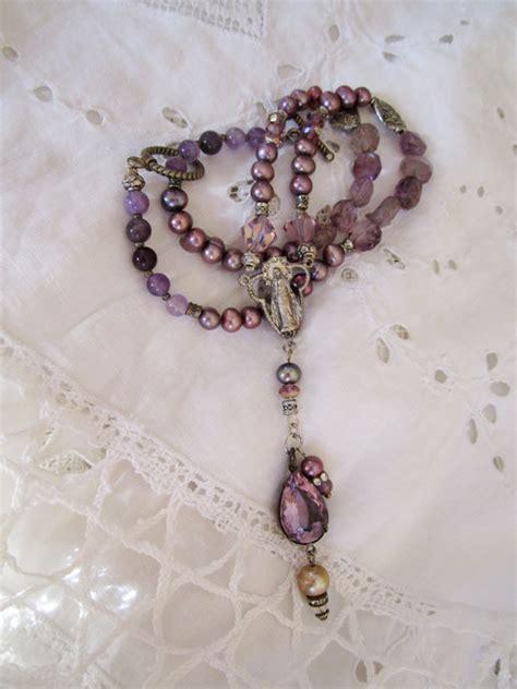 Handmade Rosary Necklace - vintage repurposed rosary handmade jewelry by atelierparis