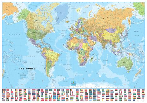 world map world usa laminated wall map with flags poster set
