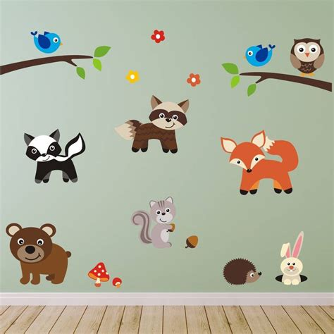Woodland Animals Wall Stickers woodland animals scene wall sticker by mirrorin
