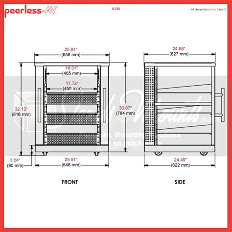 Rack Cabinet Dimensions by Peerless 15u Av Component Rack System Black Avm