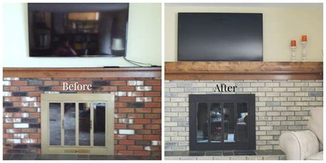 A Fireplace Update ? Whitewashing the Brick, Painting the