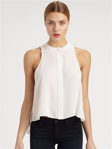 sleeveless swing top mcq by alexander mcqueen silk georgette sleeveless swing