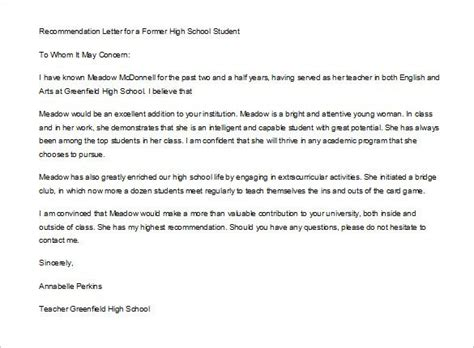 letter recommendation student