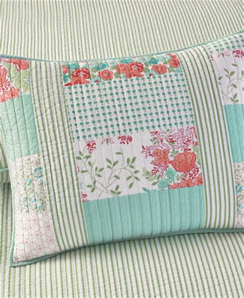 Martha Stewart Patchwork Quilt - martha stewart collection aqua coral patchwork posey