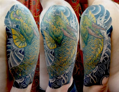 koi tattoo nyc japanese dragon koi by eddie molina the hand of fate