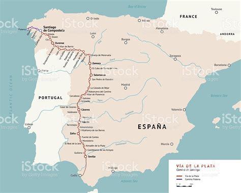 la camino de santiago via de la plata map camino de santiago spain stock vector