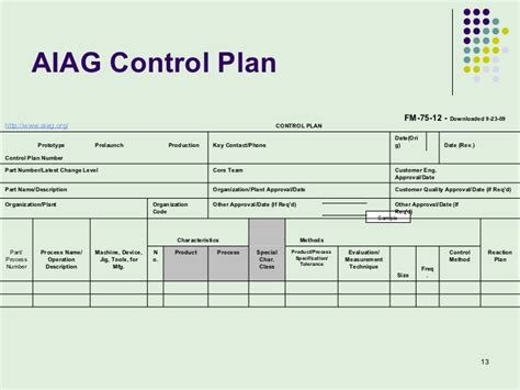 aiag control plan template