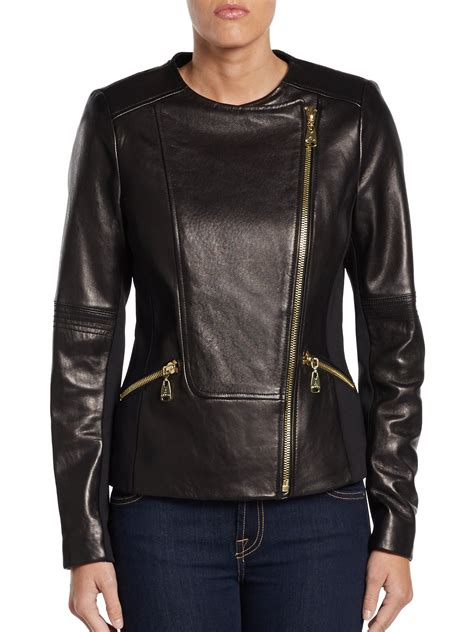 Via Spiga Jacket For by Via Spiga Exposed Zipdetail Leather Moto Jacket In Black