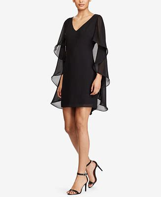 Sale Ruffle Cape Cardie Bhn Crepe ralph sheer cape crepe dress dresses macy s
