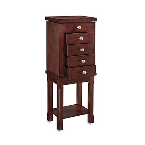 linon jewelry armoire buy linon home julia jewelry armoire in walnut from bed bath beyond