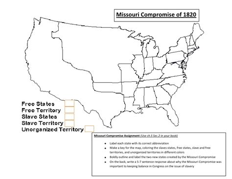 missouri compromise map activity answer key missouri compromise worksheet davezan