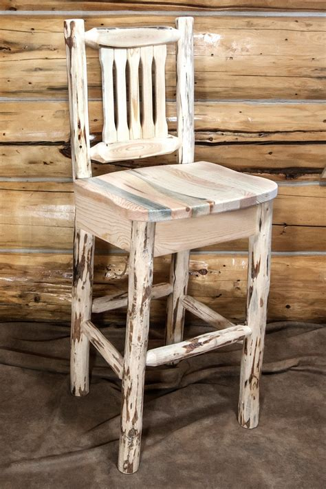 Pine Log Bar Stools by Montana Log Barstool With Back By Montana Woodworks Pine