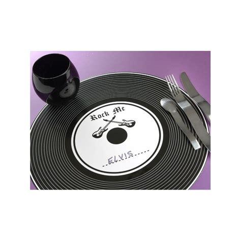 Set Rok set de table disque vinyle noir rock n roll 34 cm les 6