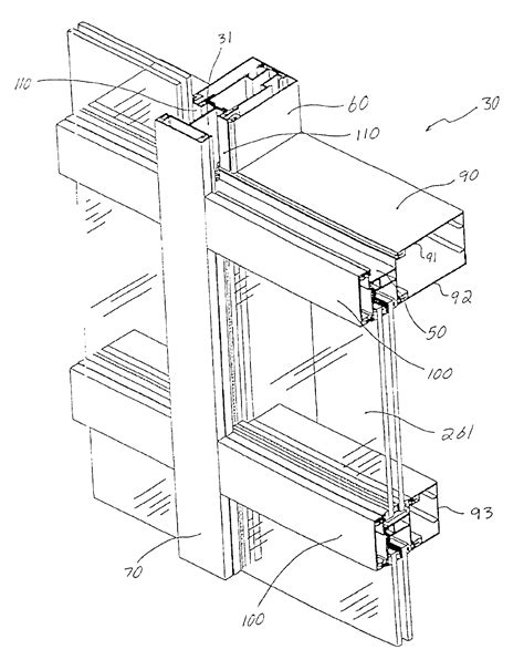 curtain wall mullion detail patent us6804920 tube lock curtain wall system google