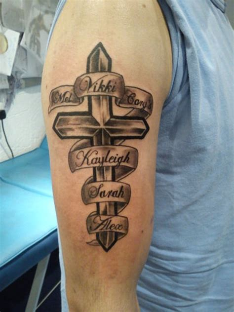 cross tattoo with names 55 cool shoulder tattoos