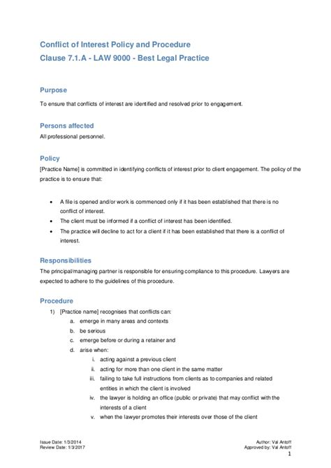 conflict of interest management plan template conflict of interest policy and procedure