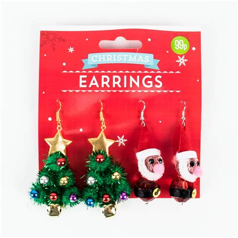 novelty christmas earrings 3 options card factory