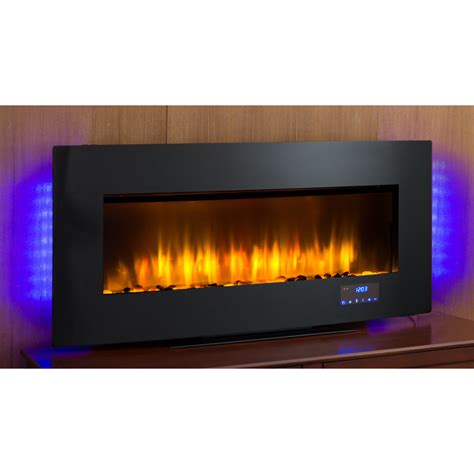 electric fireplace thermostat 40 in w 4 600 btu black metal wall mount infrared quartz