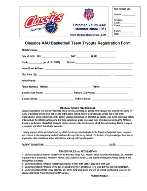 Aau Forms And Templates Fillable Printable Sles For Basketball Registration Template