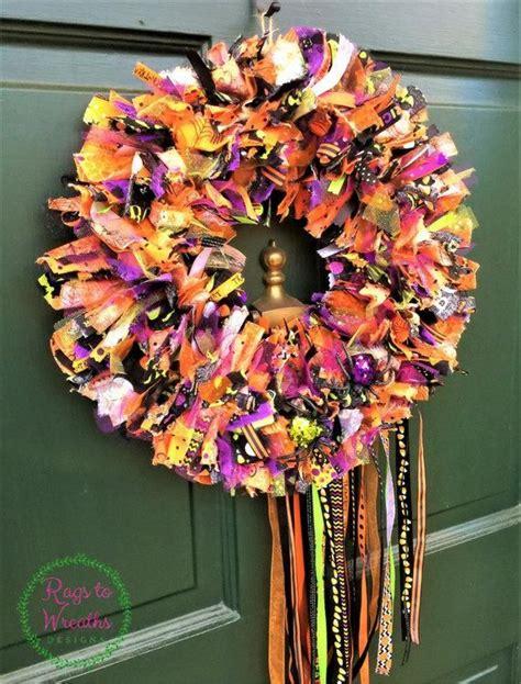 halloween wreath spider wreath front door wreath rag