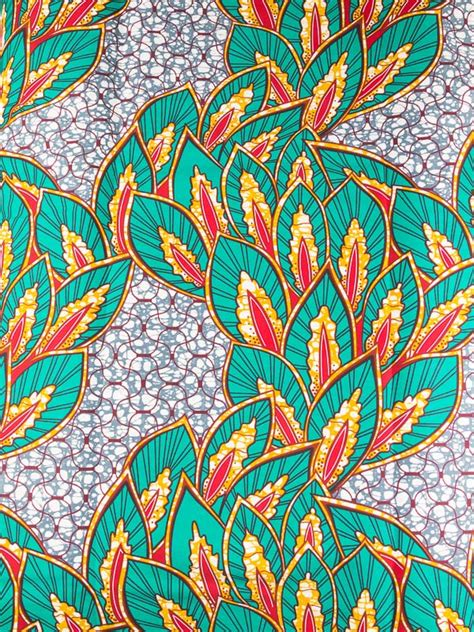 design batik cotton african batik fabric real wax green red plants flowers