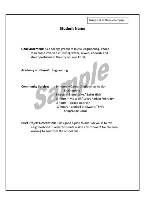 best photos of portfolio cover sheet exles career