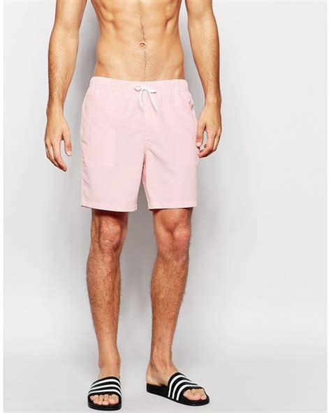 light pink shorts mens asos mid length swim shorts in light pink in pink for