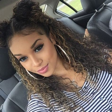 everyday hairstyles for mixed race hair double high devil horn bun curly hair hairstyle brown