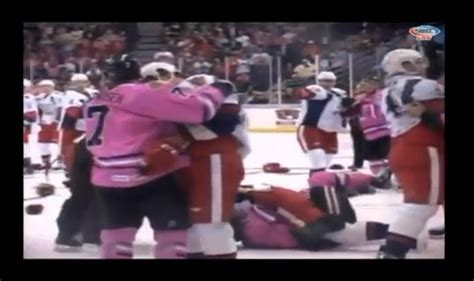 hockey bench clearing brawls grand rapids griffins and rockford icehogs engage in bench clearing hockey brawl