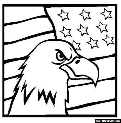american flag and eagle coloring page american bald eagle flag online coloring page