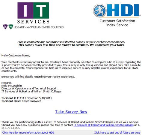 customer survey email template hws it services news and alerts customer satisfaction