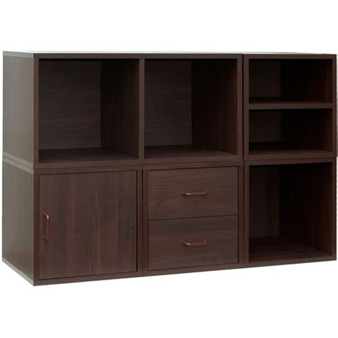 6 Drawer Storage Unit Organize It All 84720 Cube Storage System In Cherry 5 In