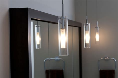 Modern Bathroom Vanity Mirror - cylinder pendant light bathroom contemporary with bathroom lighting bathtub built in