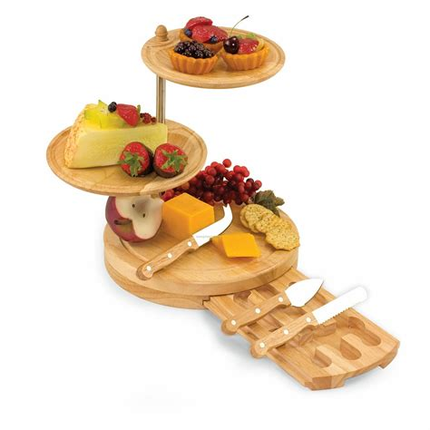 Wholesale Kitchen Knives regalio 3 tier wood serving tray amp cutting board w 3