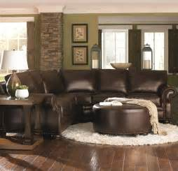 Chocolate Brown Couches Living Room by Chocolate Brown Leather Sectional W Ottoman