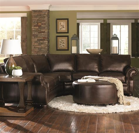 brown sofa living room ideas chocolate brown leather sectional w round ottoman