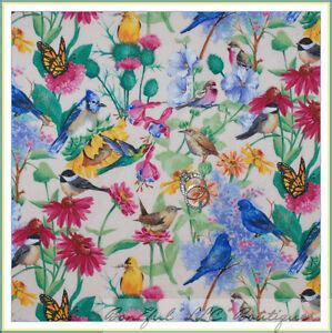 boneful fabric fq cotton quilt pink blue bird green leaf butterfly flower